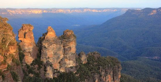 Three Sisters rock formation from Echo Point on our Blue Mountains tours
