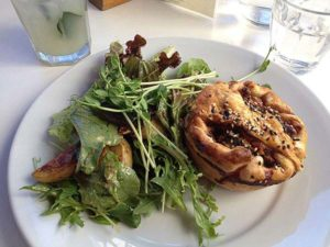 Meat pie and salad lunch on our Blue Mountains Private Tours