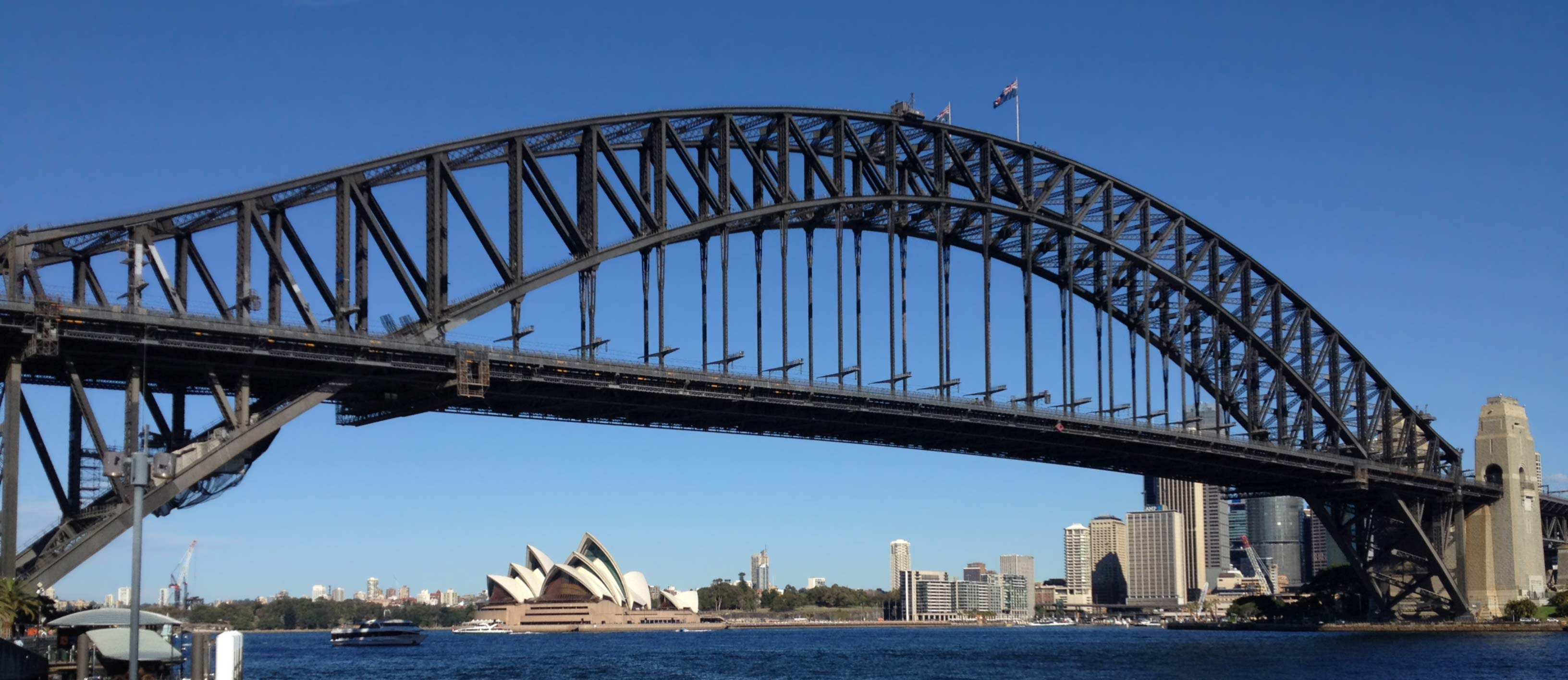 Sydney Harbour Bridge with the Opera House behind on our Sydney private tours